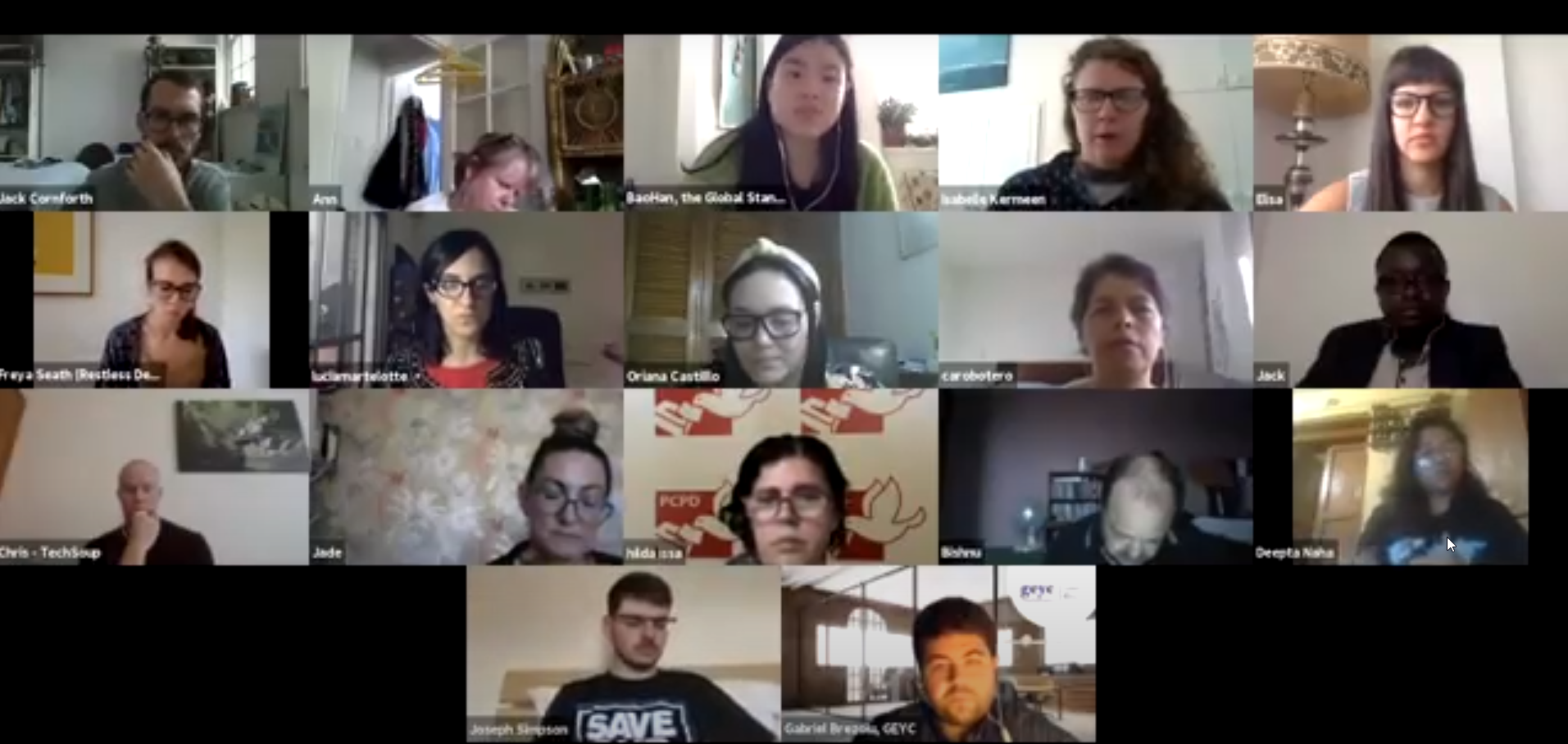 Participants in a zoom meeting