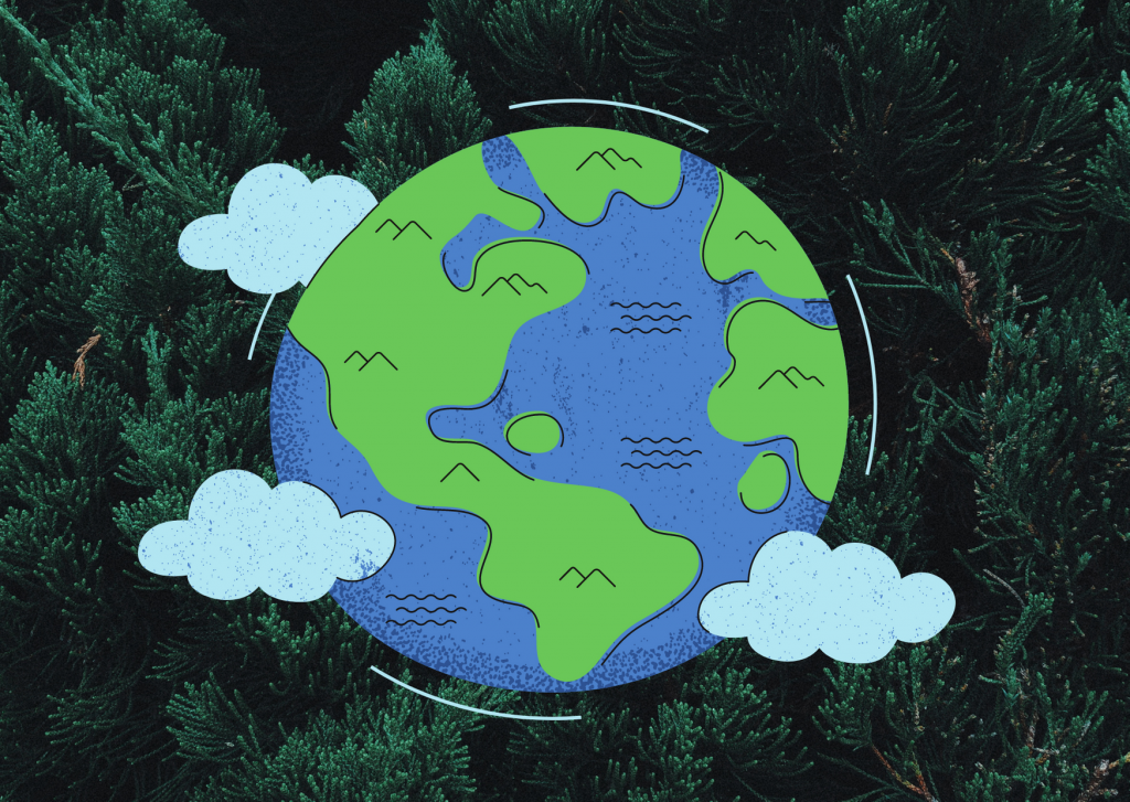 Picture of the earth on a background of trees.