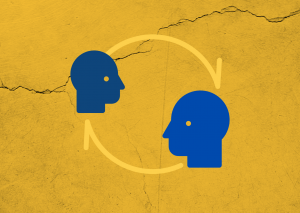 Illustrative Graphic symbolising communications with two heads and arrow pointing between them