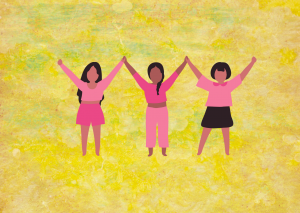 Illustration of three girls raising their arms while holding hands. On a yellow background.