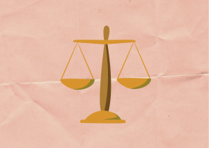 Illustration of a Yellow Scale on a Pink background